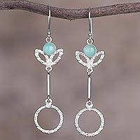 Opal dangle earrings, 'Dangling Fruits' - Handcrafted Opal and Silver Dangle Earrings from Peru