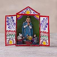 Hand-painted mini-retablo, 'The Wise King' - Peruvian Handmade Wise King Retablo Sculpture