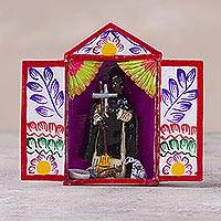 Hand-painted mini-retablo, 'Saint Martin' - Hand Crafted Miniature Saint Martin Retablo from Peru