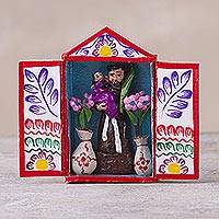 Hand-painted mini-retablo, 'Saint Dominic' - Hand Painted Peruvian Folk Art Retablo of Saint Dominic