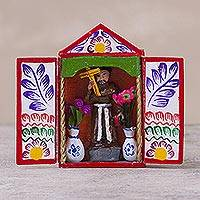 Hand-painted mini-retablo, 'The Cross of Saint Dominic' - Peruvian Hand Made Saint Dominic with Cross Folk Art Retablo