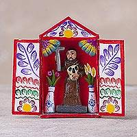 Cardboard and plaster mini-retablo, 'Saint with Mask' - Hand Crafted Peruvian Christian Themed Folk Art Sculpture