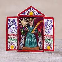 Hand-painted mini-retablo, 'Saint Michael the Archangel' - Handmade Folk Art Retablo Saint Michael Archangel from Peru