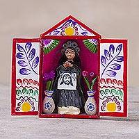 Hand-painted mini-retablo, 'Our Lady of the Abandoned' - Peruvian Religious Themed Artisan Crafted Folk Art Sculpture