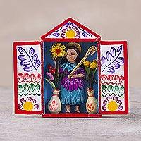Hand-painted mini-retablo, 'Andean Archangel' - Handmade Archangel Folk Art Sculpture from Peru