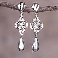 Sterling silver dangle earrings, 'Hearts in Clover' - Sterling Silver Heart Theme Artisan Crafted Earrings