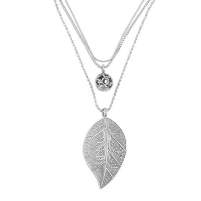 Sterling Silver Leaf Filigree Pendant Necklace from Peru