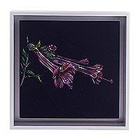 'The Cantua' - Framed Painting of a Salvia Flower from Peru