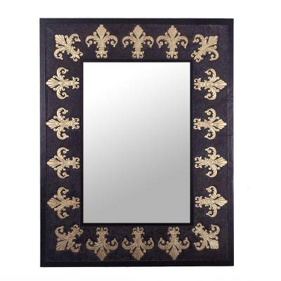 Fleur-de-Lis Motif Leather Wall Mirror from Peru