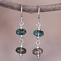Quartz dangle earrings, 'The Color of Hope' - Green and Brown Quartz and Sterling Silver Dangle Earrings