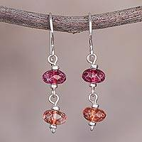 Quartz dangle earrings, 'The Color of Joy' - Red and Orange Quartz and Sterling Silver Dangle Earrings
