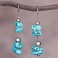 Sterling silver beaded dangle earrings, 'Peruvian Pebbles' - Sterling Silver and Reconstituted Turquoise Dangle Earrings