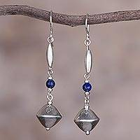 Sterling silver and lapis lazuli dangle earrings,