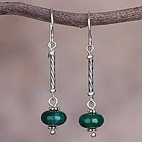 Chrysocolla dangle earrings, 'Meadow Goddess' - Chrysocolla and Sterling Silver Dangle Earrings from Peru