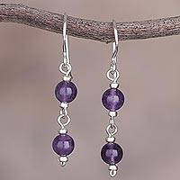 Amethyst dangle earrings, 'Andean Emotion' - Dangle Earrings in Sterling Silver with Two Amethyst Beads