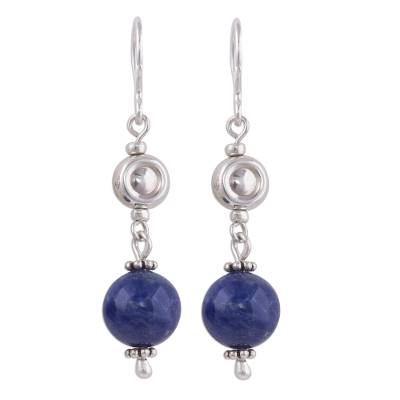 Peruvian Sodalite and Sterling Silver Beaded Dangle Earrings