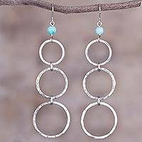 Amazonite dangle earrings, 'Silver Ripples' - Amazonite Bead and Sterling Silver Dangle Earrings from Peru