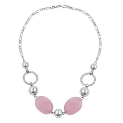 Rose Quartz and Sterling Silver Beaded Pendant Necklace