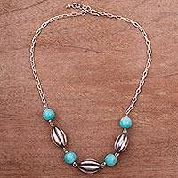 Amazonite beaded pendant necklace, 'Warm Ocean' - Amazonite and Sterling Silver Beaded Pendant Necklace