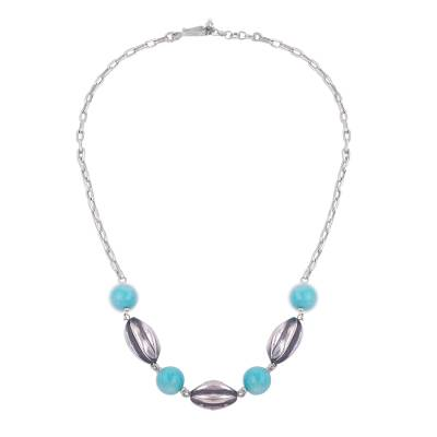 Amazonite and Sterling Silver Beaded Pendant Necklace