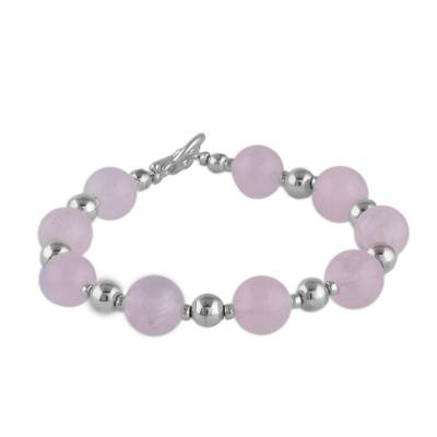 Rose Quartz and Sterling Silver Beaded Bracelet from Peru