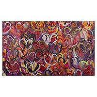 'Love' (2016) - Original Signed Expressionist Painting of Hearts from Peru