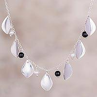 Onyx and cultured pearl pendant necklace, 'Glimmering Leaf Fall' - Onyx and Cultured Pearl Pendant Necklace from Peru