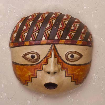 Ceramic mask, 'Wari Warrior' - Handcrafted Ceramic Mask of a Wari Warrior from Peru