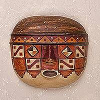 Ceramic mask, 'Wari Military' - Handcrafted Wari-Themed Ceramic Wall Mask from Peru
