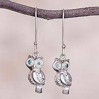 Chrysocolla dangle earrings, 'Guardians of the Night' - Chrysocolla and Silver Owl Dangle Earrings from Peru
