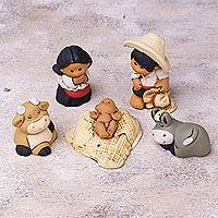 Ceramic nativity scene, 'Christmas in Characato' (6 pieces) - Six Piece Petite Ceramic Nativity Scene from Peru