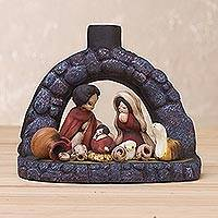 Ceramic sculpture, 'Traditional Welcome' - Handcrafted Traditional Nativity Scene from Peru