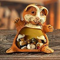Ceramic nativity scene, 'Guinea Pig Christmas' - Guinea Pig Andean Christmas Nativity Scene in Ceramic