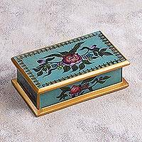 Reverse painted glass decorative box, 'Colonial Rose' - Reverse Painted Glass Decorative Box in Blue from Peru