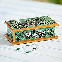 Reverse painted glass decorative box, 'Amazon Lake' - Floral Reverse Painted Glass Decorative Box from Peru