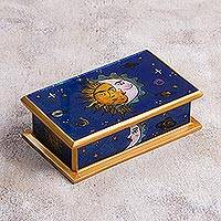 Reverse painted glass decorative box, 'Solar Love' - Sun-Themed Reverse Painted Glass Decorative Box from Peru
