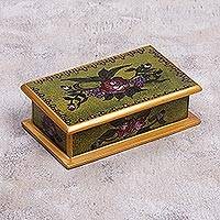 Reverse painted glass decorative box, 'Green Garden' - Reverse Painted Glass Decorative Box in Green from Peru