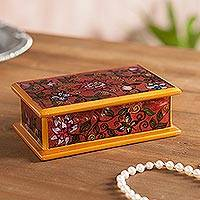 Reverse-painted glass decorative box, 'Blooming Beauty' - Reverse-Painted Glass Decorative Box in Burgundy from Peru