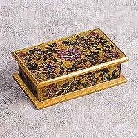 Reverse-painted glass decorative box, 'Gold Celebration' - Wood and Glass Reverse-Painted Floral Mini Chest