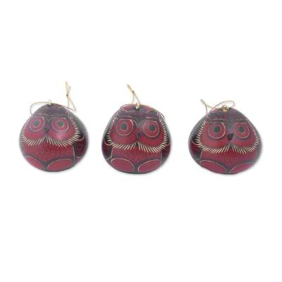 Artisan Crafted Dried Gourd Red Owl Ornaments (set of 3)