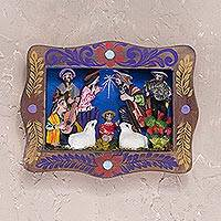 Wood wall retablo, 'Sweet Birth' - Handcrafted Nativity Retablo from Peru