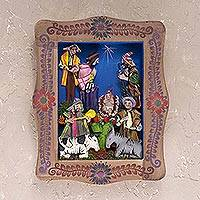 Wood wall retablo, 'Peruvian Nativity' - Handcrafted Nativity Wall Retablo from Peru