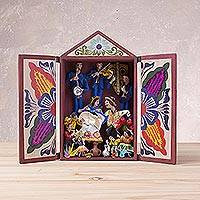 Wood retablo, 'Mountain Dance' - Hand Painted Plaster and Wood Retablo from Peru