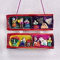 Reed mini wall retablo, 'Traditional Celebration' - Handcrafted Reed Mini Wall Retablo from Peru