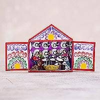 Hand-painted mini-retablo, 'Hat Gallery' - Artisan Crafted Andean Hat Shop Folk Art Sculpture from Peru