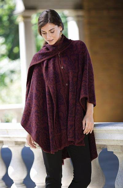Reversible alpaca blend ruana, 'Peruvian Wildflower in Red' - Alpaca Blend Wine and Purple Ruana with Scarf
