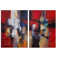 'Dance of Colors' (diptych) - Original Signed Abstract Diptych Painting in Oils from Peru