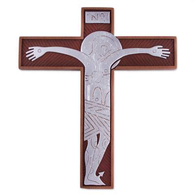 Handcrafted Cedar and Aluminum Wall Cross from Peru