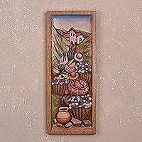 Cedar relief panel, 'Countryside Flowers' - Cedar Wood Wall Panel of Flower Farmers from Peru