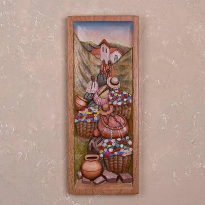 Cedar relief panel, Countryside Flowers